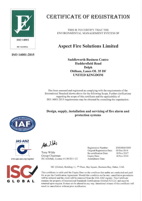 Aspect Fire ISO 14001 Registration Certificate