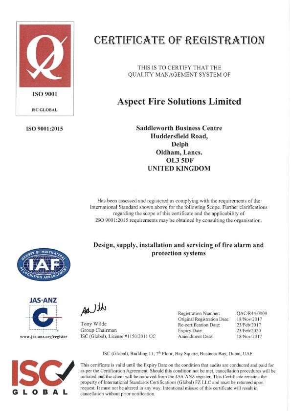 Aspect Fire ISO 9001 Registration Certificate
