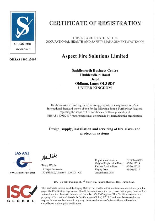 Aspect Fire OHSAS Registration Certificate