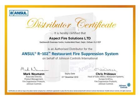 Aspect Fire ANSUL Distributor Certificate