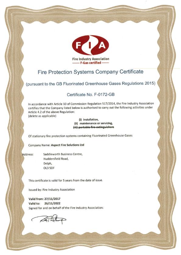 FIA FGas Certificate